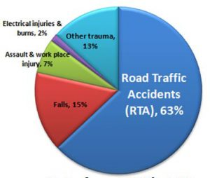 chart showing road traffic accidents account for most trauma coming to CMC Vellore