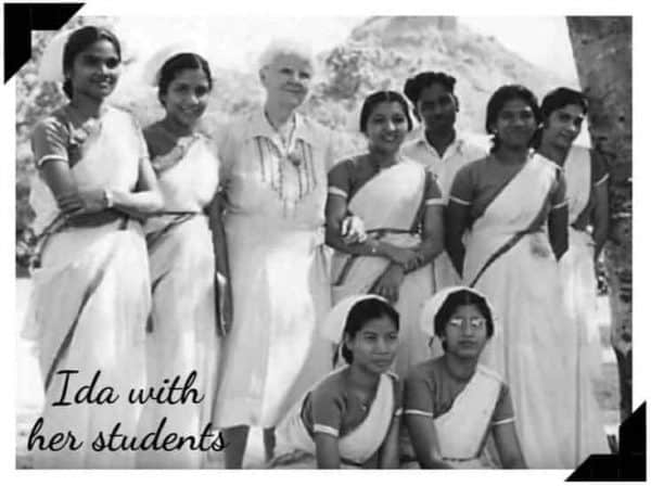 IdaScudder, founder of Christian Medical College Vellore, with a group of nurses