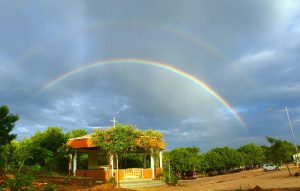 wide view of Chapel at CMC Vellore Chittoor campus with rainbows overhead