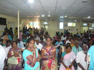 Busy outpatient waiting area at Chittoor in jan 2019
