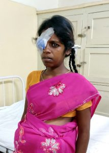 pregnant lady by bed in schell eye hospital