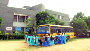 Outside the college of nursing the community nurses board the bus