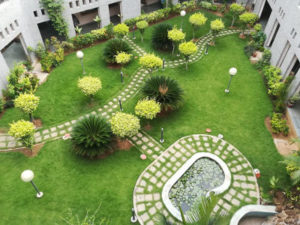formal garden in the courtyard of the college of nursing, Kagithapattarai
