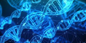 blue tone drawing of dna helixes