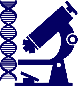symbols of investigations microwscope and dna double strand