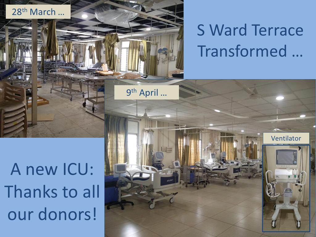 picture of s ward terrace on 28th march and then 9th April. An amazing transformation from store room to ICU