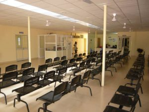 Chittoor outpatint waiting area when first opened lots of chairs and no patients