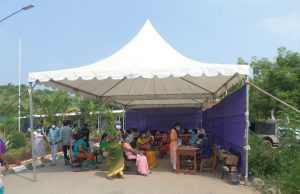 Outside waiting area at Chittoor hospital during the COVID pandemic