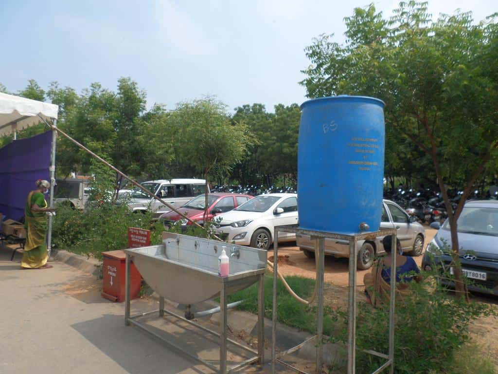 the hand wash area in the outside waiting rooms at Chittoor for COVID pandemic