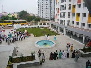 view from above the front entrance to the new nurses hostel at Kagithapattarai after the inauguration
