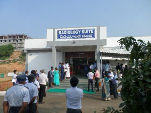 Chittoor patient services now include a radiology suite. Photo shows the dedication and waiting outside for ribbon cutting. COVID times