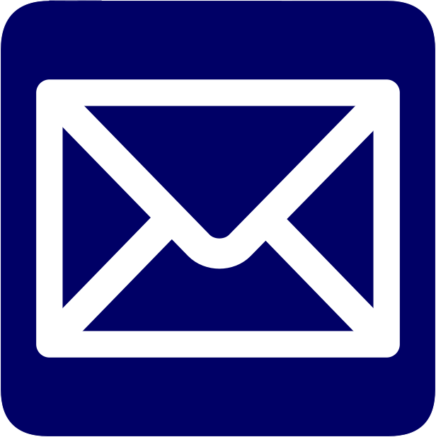 outline of an envelope in white on navy background representing email