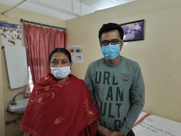 Dhruv and his wife at CMC when he came for his checkup