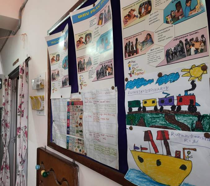 the walls are decorated with kids drawings and information
