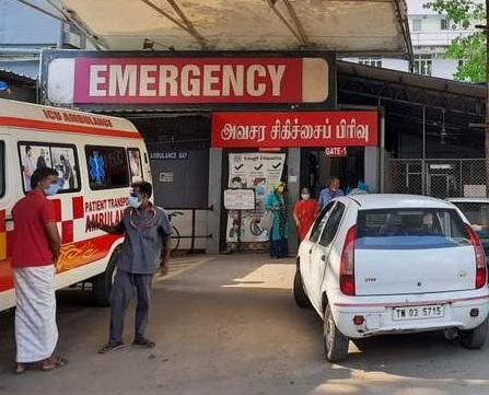 COVID entrance in casualty with patients arriving April 2021 CMC Vellore