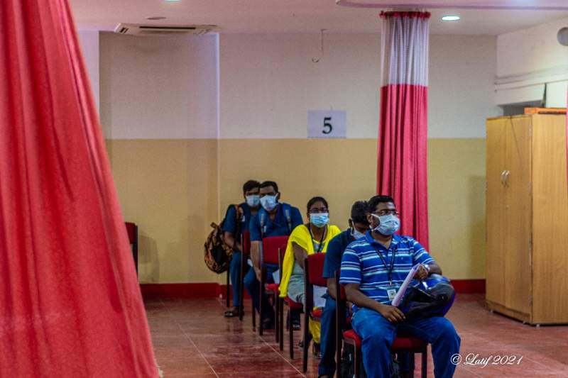 staff waiting in the final room with for their vaccinations