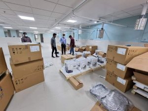 early in the day with the boxes delivered to the COVID ICU at kan and starting to be opened