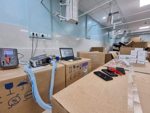 equipment has arrived at the new ICU in Kannigapuram and is being unboxed