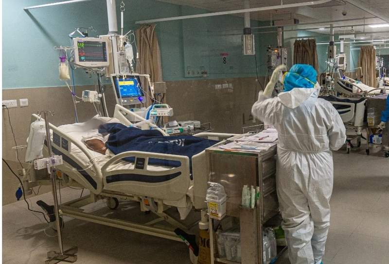 an ICU bed in the new Kannigapuram ICU opened the previous week with CMC staff at work caring for patients
