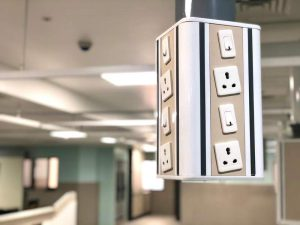 sockets hung from ceiling in new ICU at Kannigapuram ready for first COVID patients